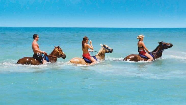 Rida på en häst i havet